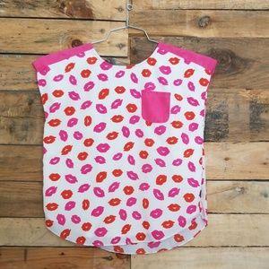 DKNY Girls Kisses Printed Shirt White Pink XL